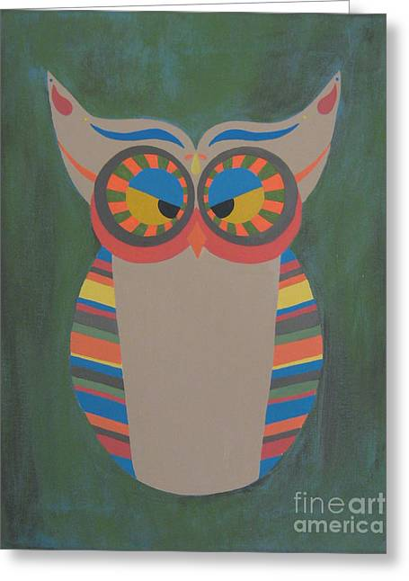 Owl Eyed Greeting Card by Jules Wagner