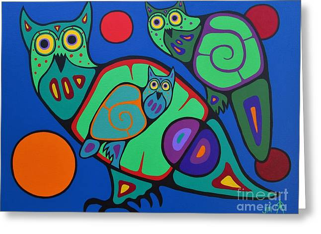 Shaman Art Greeting Cards - Owl Family Greeting Card by Jim Oskineegish