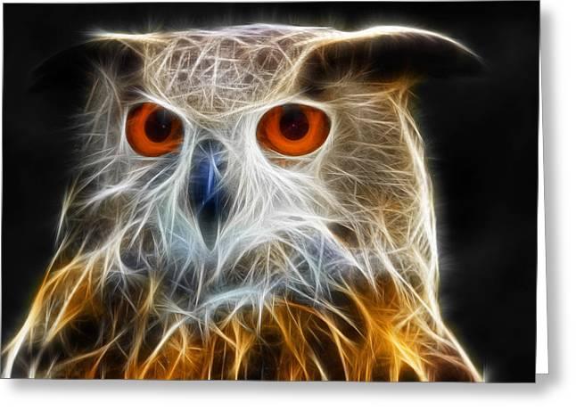 Strange Owl Greeting Cards - Owl fractal art Greeting Card by Matthias Hauser