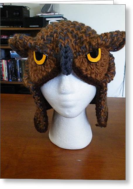 Realistic Tapestries - Textiles Greeting Cards - Owl Hat Greeting Card by Scarlett Royal