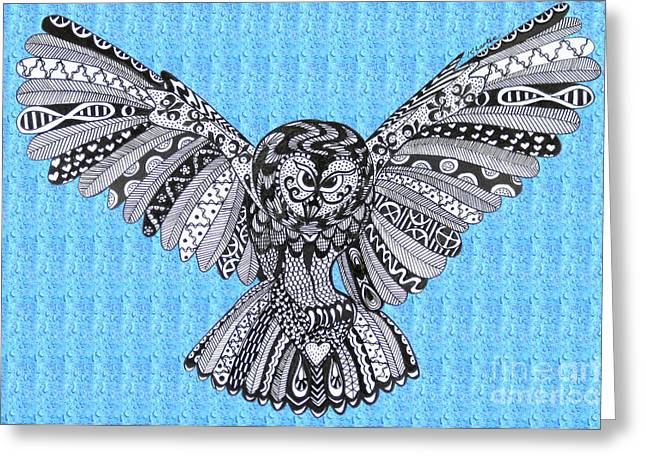 Ble Sky Greeting Cards - Owl in Flight Blue Sky Greeting Card by Karen Larter