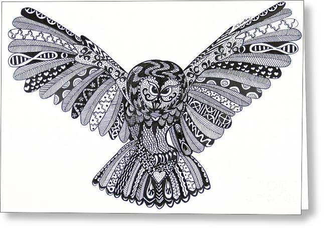 Ble Sky Greeting Cards - Owl in Flight Cream Greeting Card by Karen Larter
