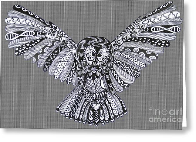 Ble Sky Greeting Cards - Owl in Flight Herringbone Greeting Card by Karen Larter