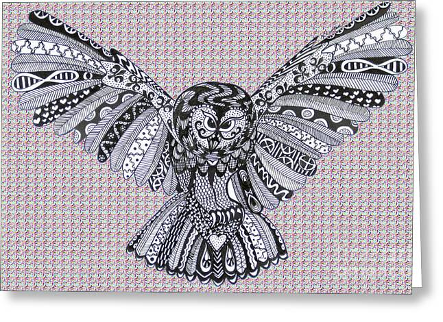 Ble Sky Greeting Cards - Owl in Flight Pink Bubbles Greeting Card by Karen Larter