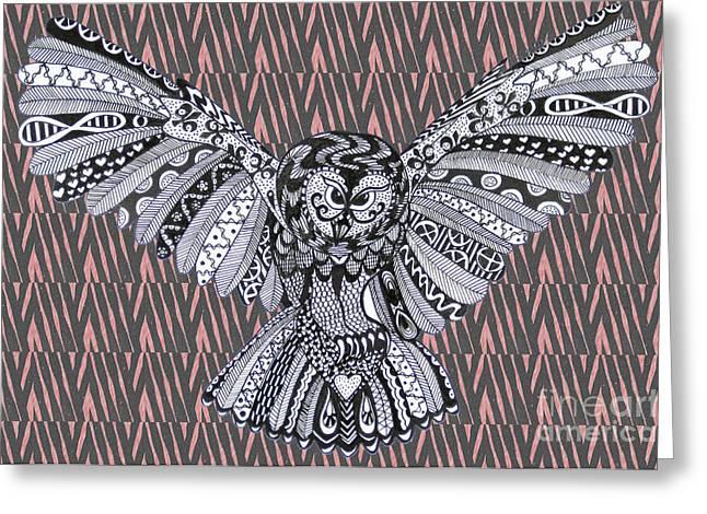 Ble Sky Greeting Cards - Owl in Flight Pink Zebra Greeting Card by Karen Larter