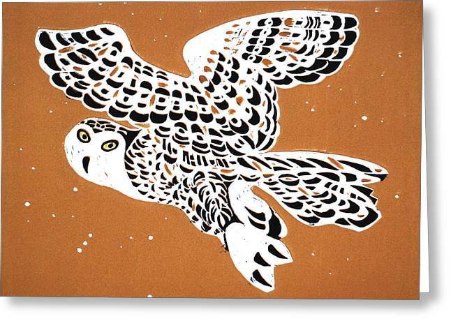 Linocut Reliefs Greeting Cards - Owl In Gold Sky Greeting Card by Vadim Vaskovsky