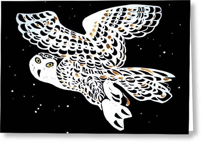 Skies Reliefs Greeting Cards - Owl In Night Sky Greeting Card by Vadim Vaskovsky