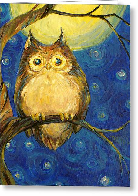 Night Owls Greeting Cards - Owl in Starry Night Greeting Card by Peggy Wilson