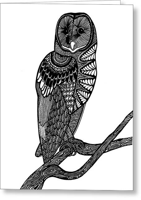 Barn Pen And Ink Greeting Cards - Owl Intricacy Greeting Card by Monique Butcher