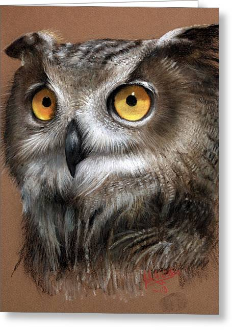 Horns Pastels Greeting Cards - Owl Greeting Card by John F Willis