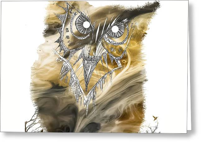 Original Owl Drawing Greeting Cards - Owl Greeting Card by Justyna JBJart