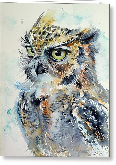 Owl Greeting Card by Kovacs Anna Brigitta