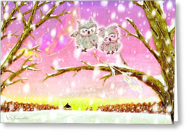 Vin Kitayama Greeting Cards - Owl Leaf 2 snow love Greeting Card by Vin Kitayama