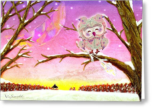 Abstract Digital Paintings Greeting Cards - Owl Leaf 2 tree Greeting Card by Vin Kitayama