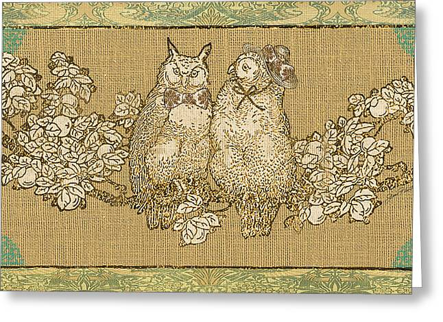 Vine Leaves Greeting Cards - Owl Love-B Greeting Card by Jean Plout