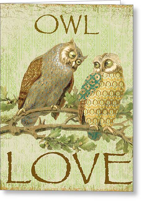 Vine Leaves Greeting Cards - Owl Love-c Greeting Card by Jean Plout