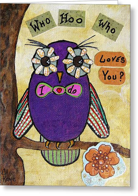 Abstract Nature Greeting Cards - Owl Love Story - whimsical collage Greeting Card by Ella Kaye Dickey