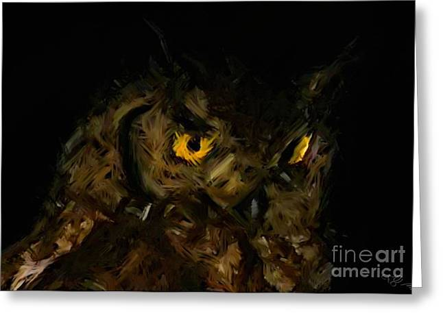 Tablets Drawings Greeting Cards - Owl Greeting Card by Miroslav Tyl