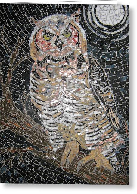 Owls Glass Greeting Cards - Owl Greeting Card by Monique Sarfity