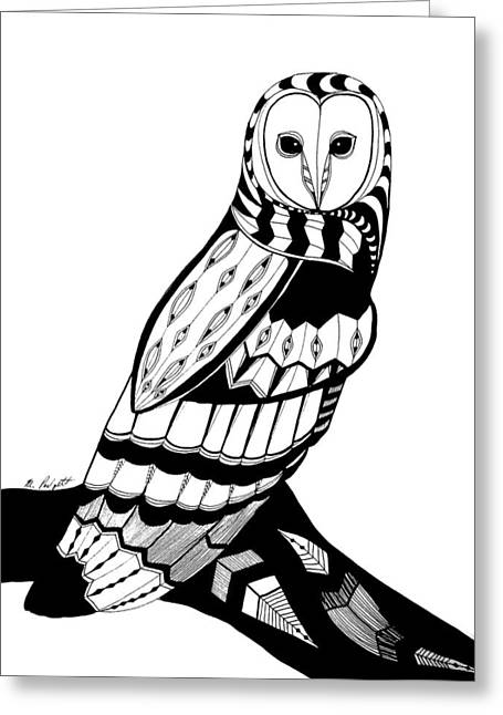 Original Owl Drawing Greeting Cards - Owl Greeting Card by Morgan Padgett