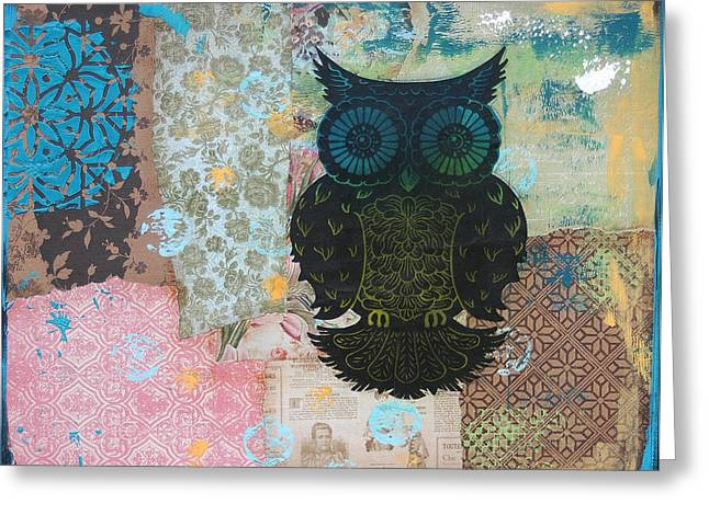 Lino Mixed Media Greeting Cards - Owl of Style Greeting Card by Kyle Wood