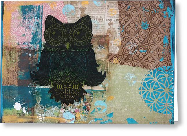 Lino Mixed Media Greeting Cards - Owl of Wisdom Greeting Card by Kyle Wood