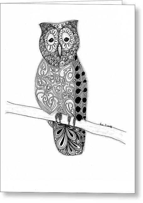 Original Owl Drawing Greeting Cards - Owl on a Branch Greeting Card by Paula Dickerhoff