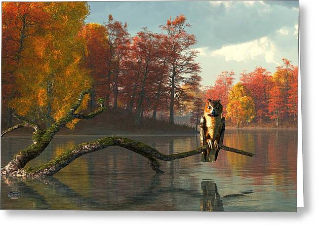 Reds Of Autumn Digital Greeting Cards - Owl on an Autumn Lake Greeting Card by Daniel Eskridge