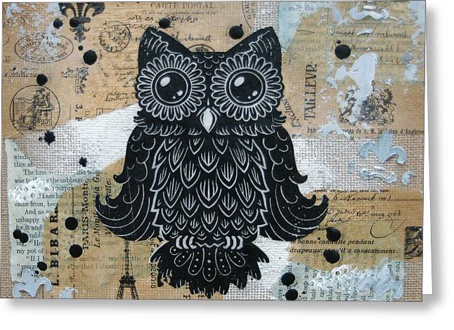 Lino Paintings Greeting Cards - Owl on Burlap1 Greeting Card by Kyle Wood