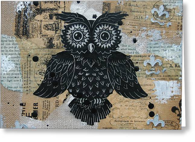 Lino Cut Paintings Greeting Cards - Owl on Burlap2 Greeting Card by Kyle Wood