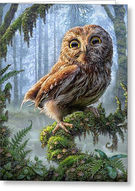 Glowing Mixed Media Greeting Cards - Owl Perch Greeting Card by Phil Jaeger