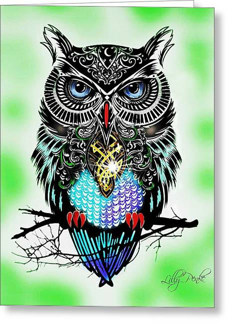 Positivism Greeting Cards - Owl Prosperity Greeting Card by Lilly Penke