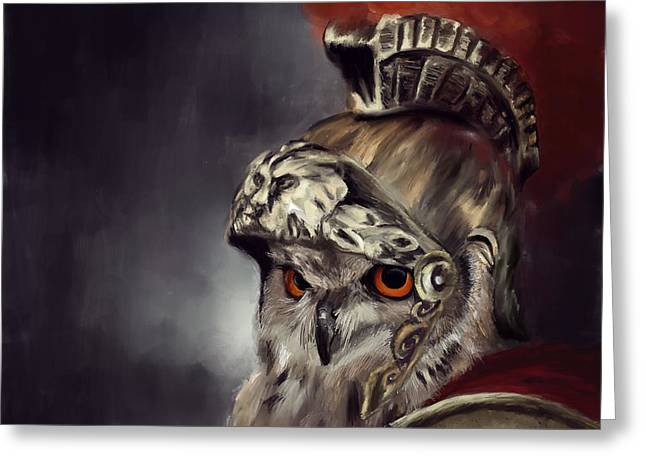 Roman Soldier Greeting Cards - Owl Roman Warrior Greeting Card by Lourry Legarde