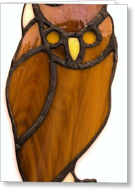 Owls Glass Greeting Cards - Owl Greeting Card by Ron Harpham