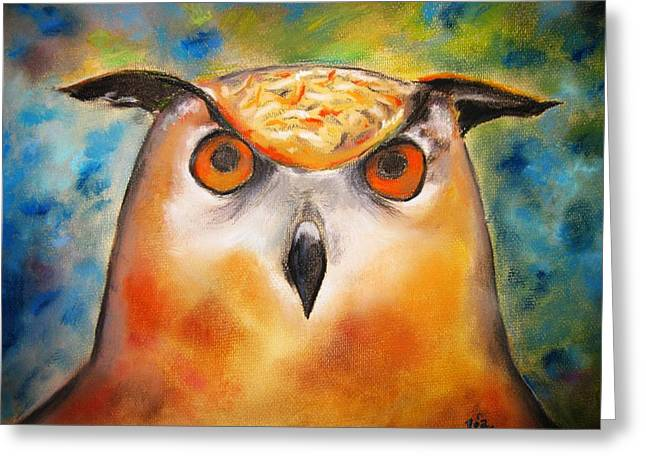 Warm Summer Pastels Greeting Cards - Owl Greeting Card by Rosa Garcia Sanchez