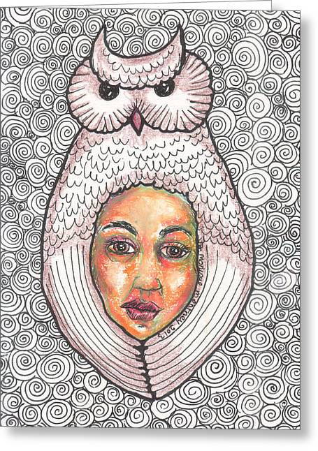 Human Spirit Drawings Greeting Cards - Owl Spirit Greeting Card by Monique Montney