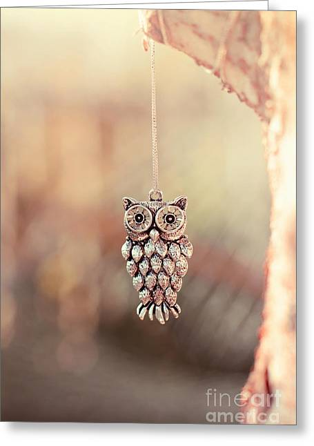 Stainless Steel Greeting Cards - Owl Spirit Greeting Card by Trish Mistric