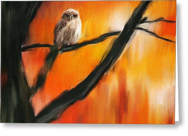 And Orange Greeting Cards - Owl Tree Greeting Card by Lourry Legarde