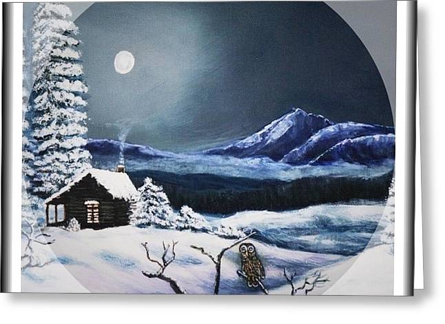 Evergreen With Snow Greeting Cards - Owl Watch on a Cold Winters Night in the Round  Greeting Card by Kimberlee  Baxter