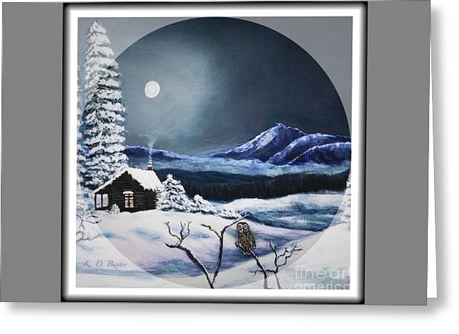 Owl Watch On A Cold Winter's Night In The Round  Greeting Card by Kimberlee Baxter