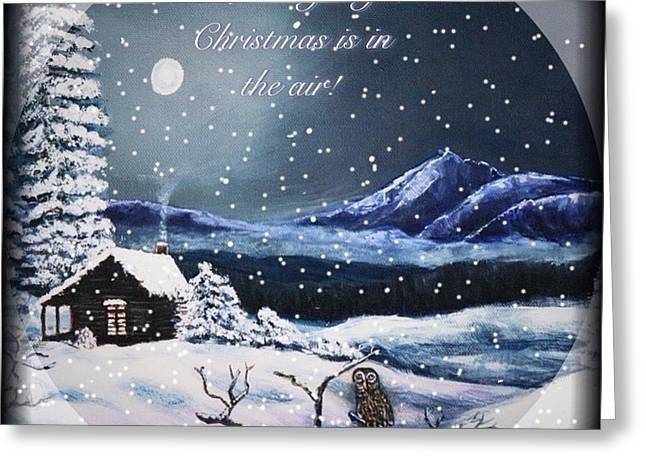 Chimney With Smoke Greeting Cards - Owl Watch on a Cold Winters Night with Snow Globe Effect Greeting Card by Kimberlee  Baxter