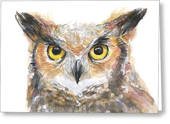 Owl Decor Greeting Cards - Owl Watercolor Portrait Great Horned Greeting Card by Olga Shvartsur