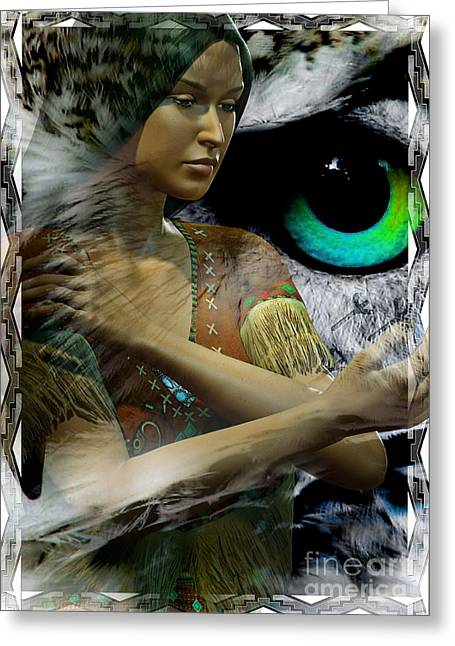 Woman And Owl Greeting Cards - Owl Woman Greeting Card by Shadowlea Is