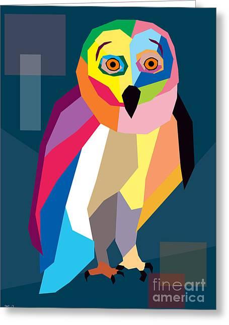 Owl Wpap  Greeting Card by Mark Ashkenazi