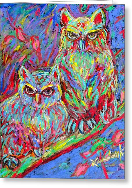 Blue And Green Pastels Greeting Cards - Owls Electric Greeting Card by Kendall Kessler