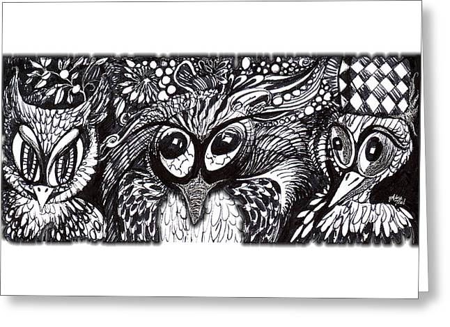 Pen And Ink Drawing Greeting Cards - Owls Eyes Greeting Card by Adria Trail