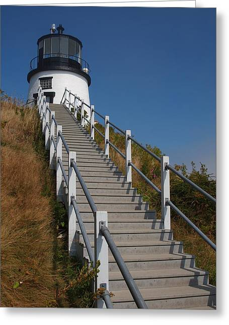 Maine Lighthouses Greeting Cards - Owls Head Lighthouse Greeting Card by David Edward Burton