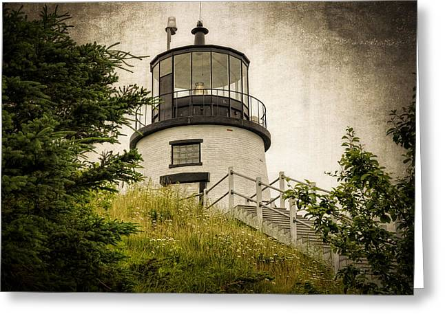 Maine Lighthouses Greeting Cards - Owls Head Lighthouse Greeting Card by Joan Carroll