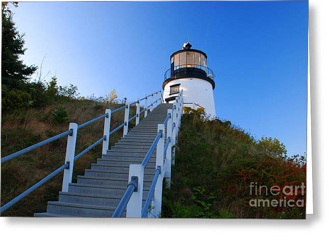 Maine Lighthouses Greeting Cards - Owls Head Lighthouse Greeting Card by Richard Gibb