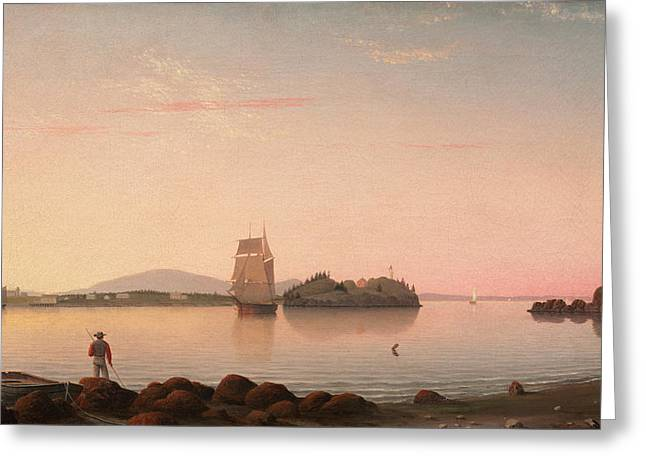 Owls Head Penobscot Bay Maine Greeting Card by Fitz Henry Lane